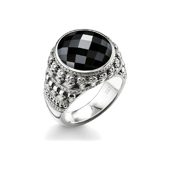 Silver Miniature Skulls Black Facted Oval Onyx  Rings, 2018 Thomas Style Cocktail Crystal Band Ring Jewelry Gift for Women Men