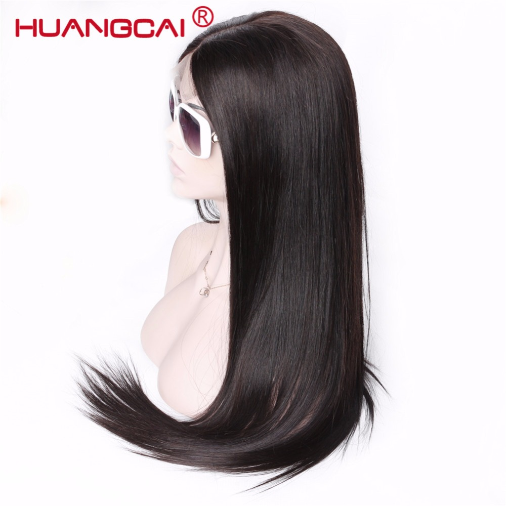 Brazilian Straight Lace Front Human Hair Wigs Middle Part Lace Frontal Wigs Pre Plucked With Baby Hair Natural Black Remy Wig