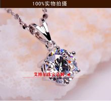classic 1 carat / 3carat SONA Simulated Gem 6 prongs Pendant Necklaces For Women,