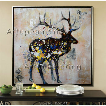Modern abstract oil paintings on canvas for pop art deer manual painting animals pop art household adornment picture 2