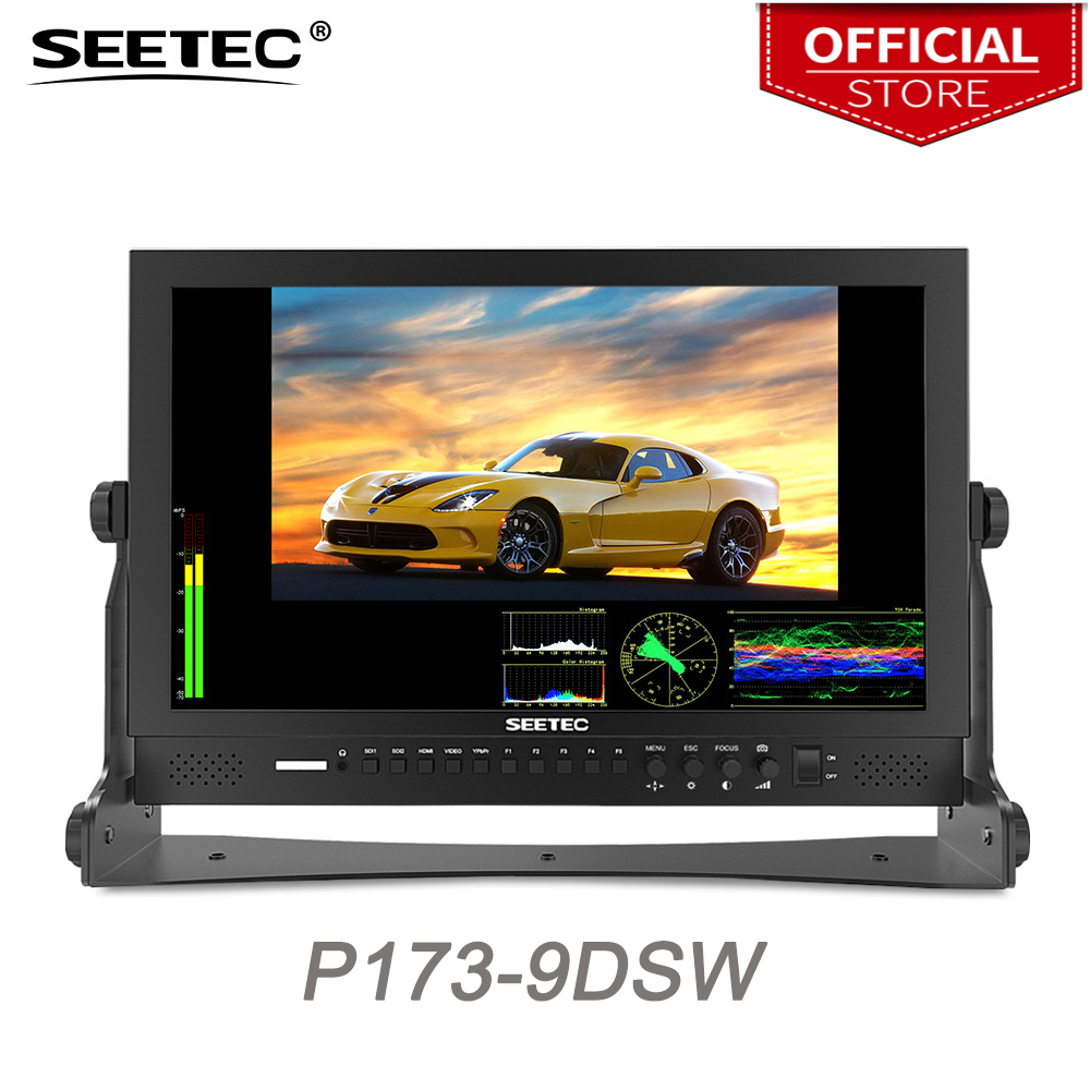 Seetec P173-9DSW 17.3 Inch FHD 1920x1080 Broadcast Monitor with 3G-SDI HDMI Waveform Vector Scope LCD Director Monitor seetec p150 3hsd 15 inch aluminum hd pro 3g sdi hdmi broadcast monitor with peaking focus assist check field 15 lcd monitor