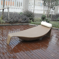 All Weather Outdoor Rattan Daybed Leaf Bed For Patio Beach Pool to sea port by sea