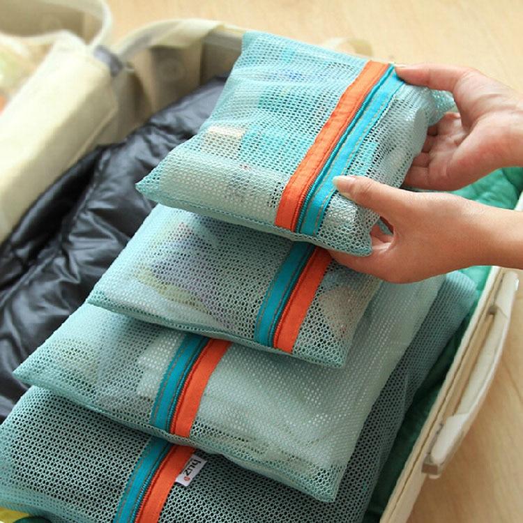 4pcs Maternity Diaper Nappy Bag Organizer Case Mesh Net Storage Bag Pouch Women Zipper Travel Bag Underwear Clothes Packing Bag