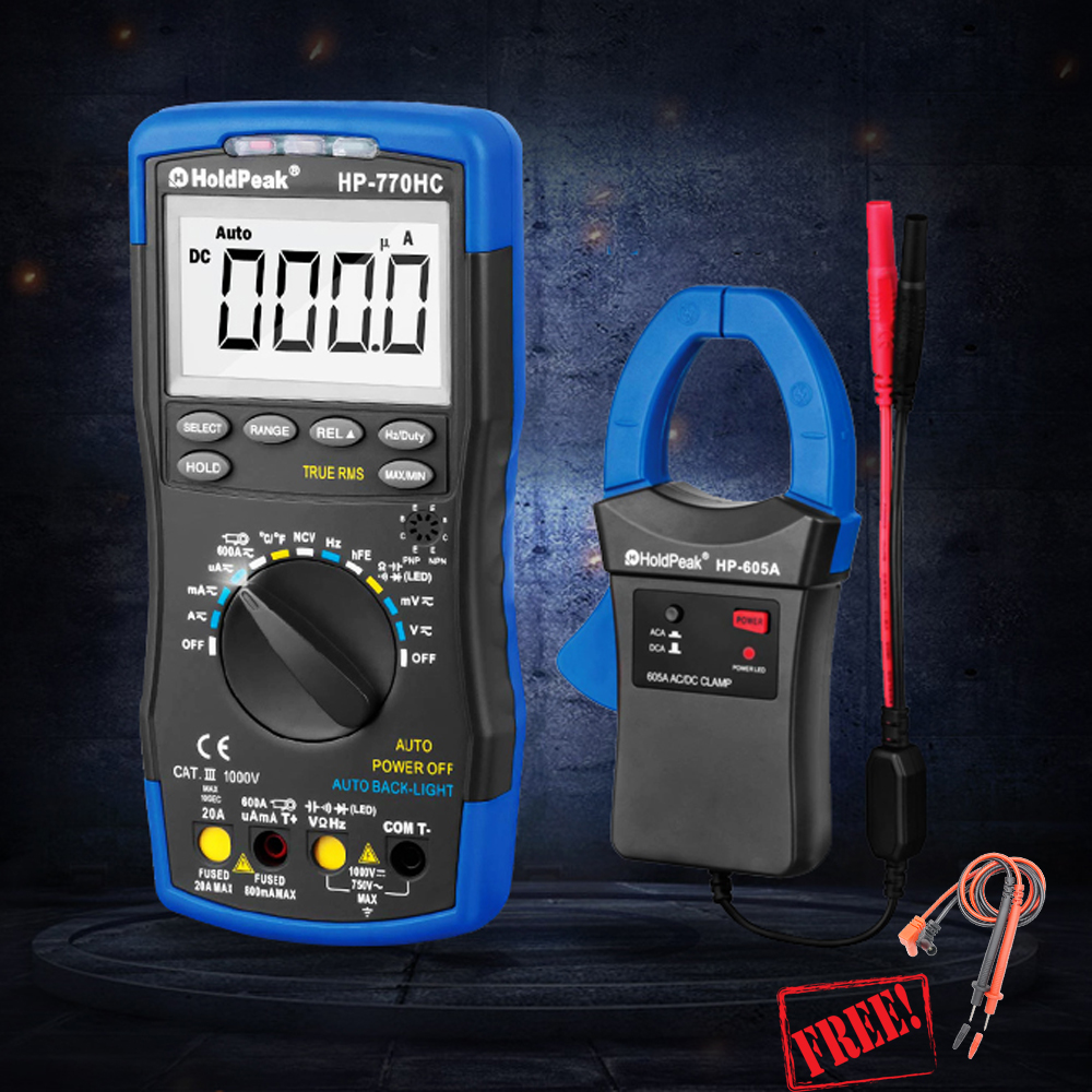 HP 770HC HP 605A 1000V 600A Digital Multimeter Clamp Meter Multimetro True RMS NCV Feature Temperature