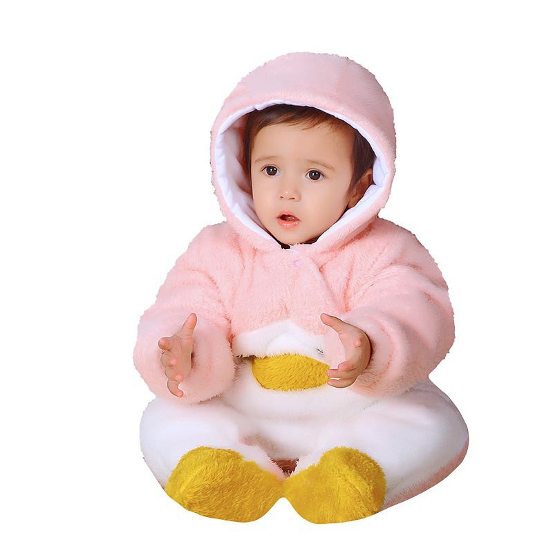 0-2Y Cute Baby Bodysuits Infant Hooded Jumpsuit Newborn Winter Autumn Warm Soft Thick Clothes Baby Outdoors Warm Outfits