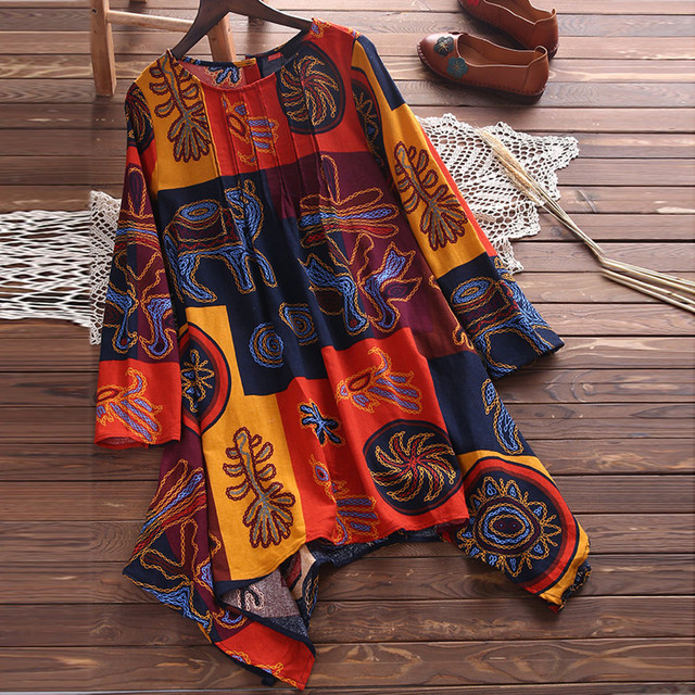 Plus Size 5XL Womens Tops and Blouses Autumn 2018 Feminina Vintage Printed Long Sleeve Long Shirts Tunic Ladies Top Clothes