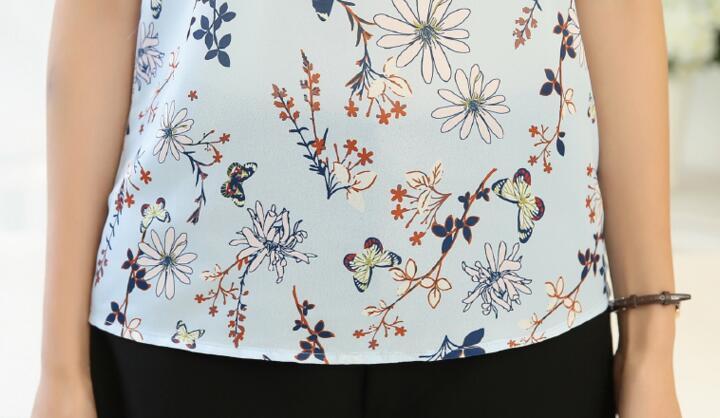 HTB1zmvBQXXXXXazXVXXq6xXFXXXQ - Floral Print Chiffon Blouse Collar Short Sleeve Women