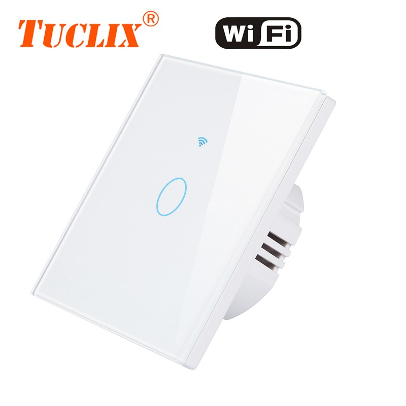 TUCLIX EU WiFi APP Switch 1/2/3 Gang 110-240v Wall Light Touch Screen Switch,Crystal Glass Switch Panel