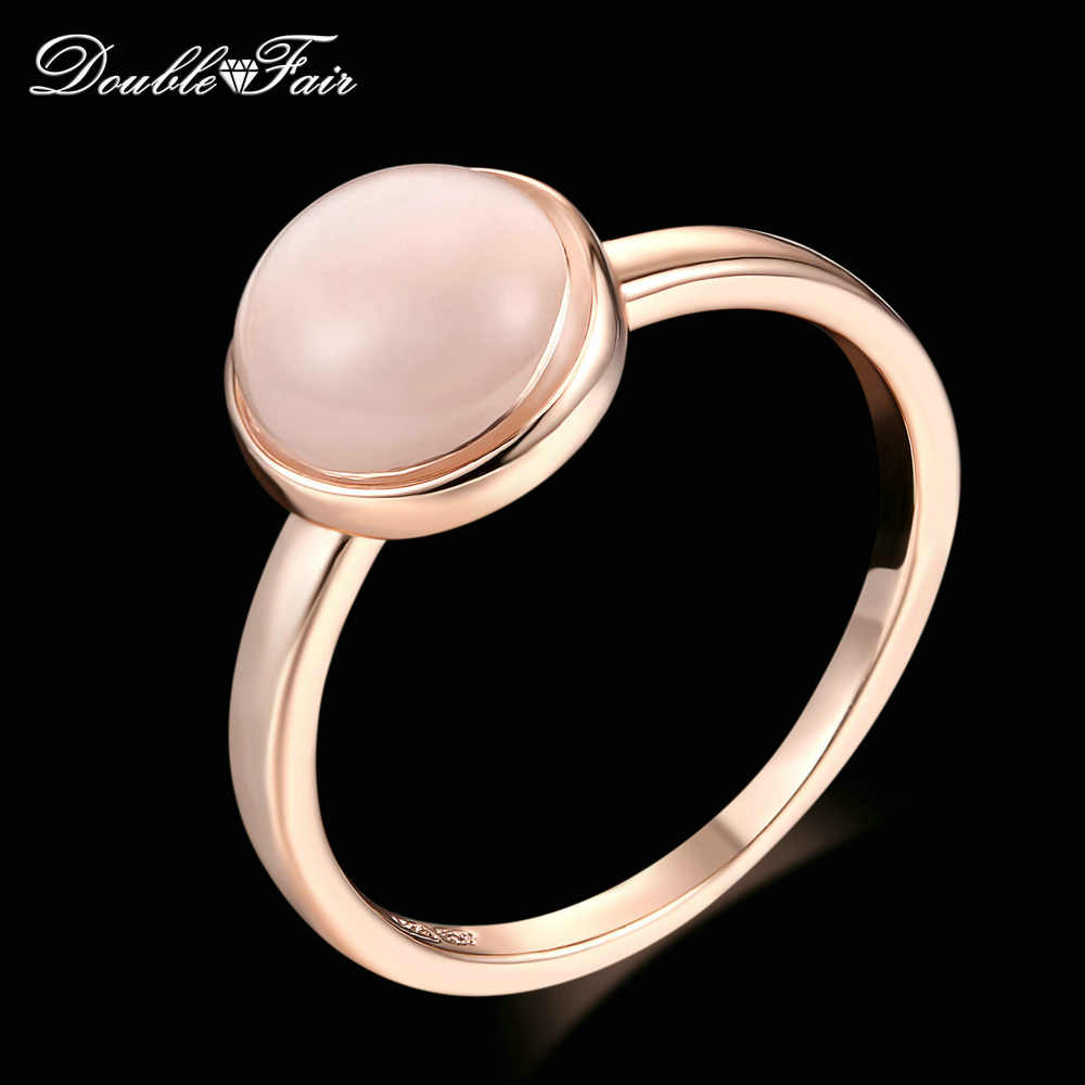 Double Fair Concise Cat's Eye Stone Rings Rose Gold Color Semi-precious Stone Brand Jewelry For Women anel aneis joias DFR153