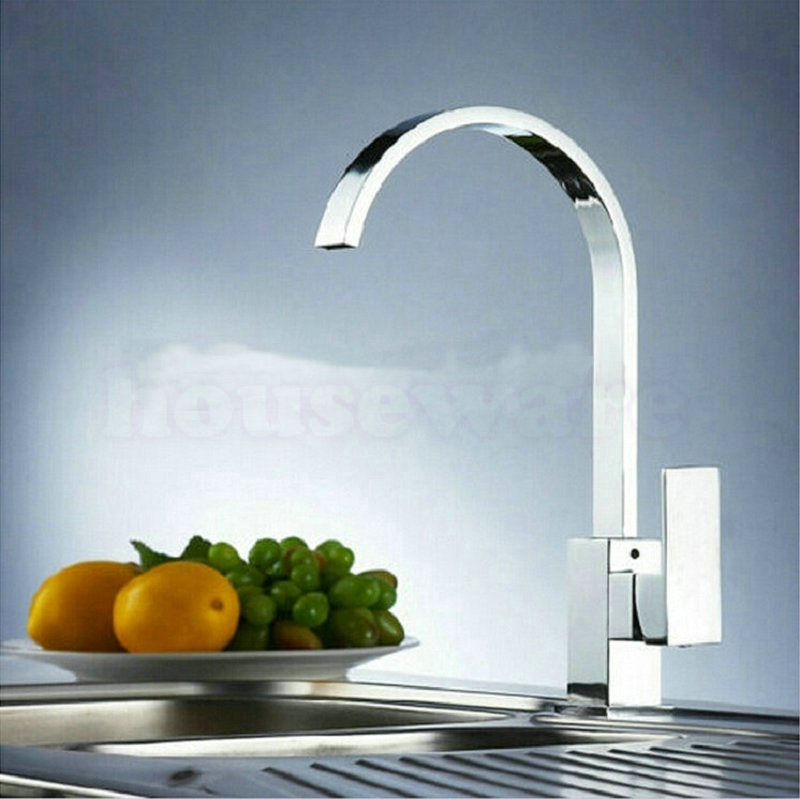 360 Degree Rotating Kitchen Faucet Polished Chrome Brass Swivel Single Handle Single Hole Kitchen Mixer Tap