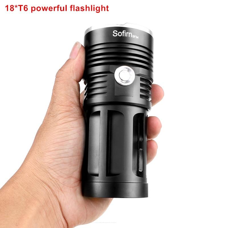 Sofirn 18*T6 Powerful LED Flashlight High Power Flashlight 18650 Searchlight Torch Light Hunt Camping Bike Light