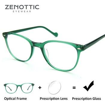 be00ad0c47 ZENOTTIC Retro remache gafas de prescripción marco para mujer gafas de miopía  óptica gafas de hiperopía gafas fotocromáticas Anti-Rayo Azul