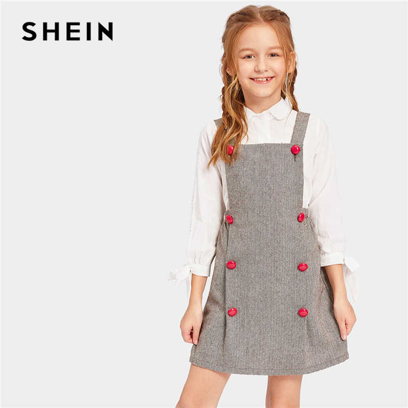 SHEIN Kiddie Grey Double Button Herringbone Pinafore Elegant Dress Girls Clothes 2019 Spring Korean Sleeveless Kids Dresses