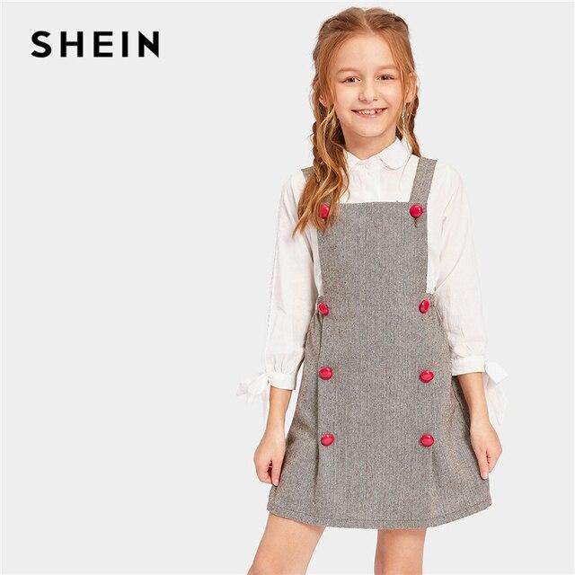 SHEIN Kiddie/серое элегантное платье с двойной пуговицей и узором в елочку; Одежда для девочек; коллекция 2019 года; весенние детские платья без рукавов в Корейском стиле