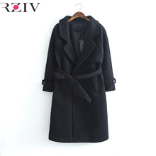 RZIV 2016 autumn and winter women casual long section of pure color with a coat