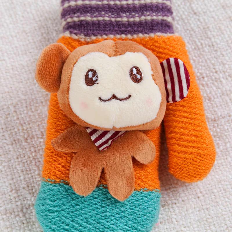 REALBY, guantes invierno, guantes invierno niños lindo mono Color caramelo curva caliente de mitones, guantes de traje para 7-12 años chico gants enfants hiver