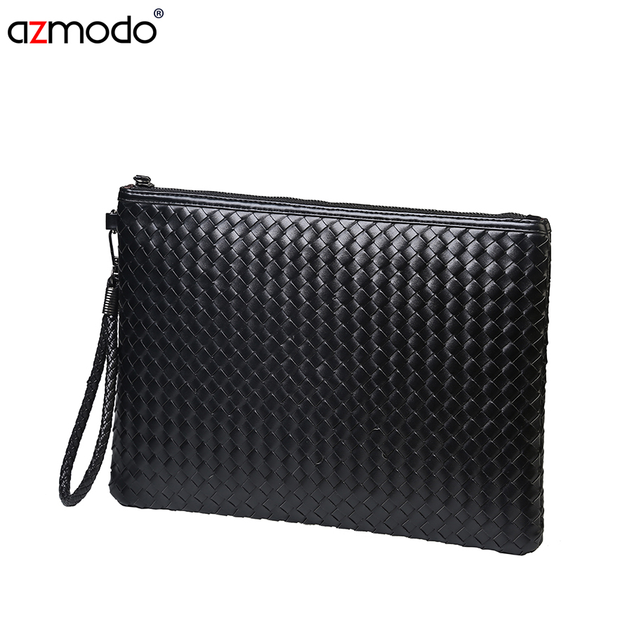 2016 New Fashion Mens Weaving Clutch Bag Black Leisure Envelope Business Small
