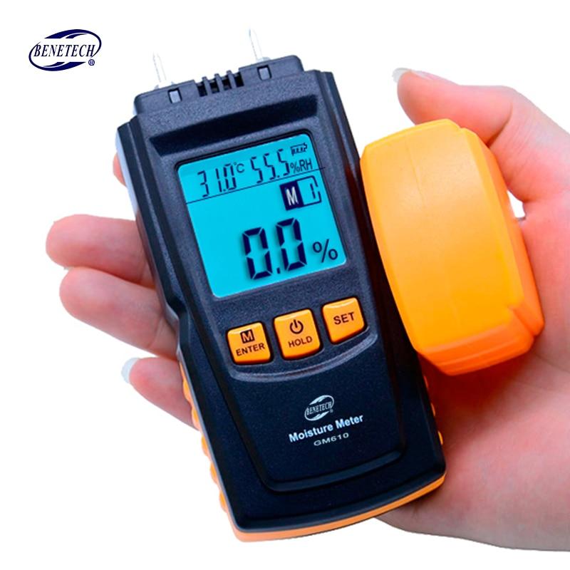 BENETECH GM610 Wood Moisture Meter 2Pins Humidity Tester Timber Damp Detector Hygrometer Range 0~70% Digital LCD Display