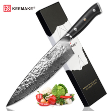 "SUNNECKO 8 ""inch Koksmes Hamer Damascus Staal Blade Keukenmessen Japanse AUS 10 Core Razor Sharp Vlees Groente Cutter"