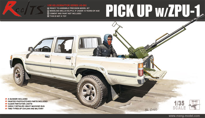 Meng VS-001 Model 1/35 Scale Toyota Hilux Pick Up Truck C/w ZPU1 Anti-tank Gun
