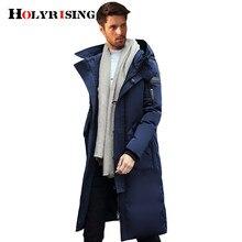 ae94dc28f Holyrising الرجال طويل أسفل بطة جاكيتات الرجال الملابس جاكيتات سميكة  الدافئة الرجال مقنعين أسفل سترة الشتاء الرجال معطف الثلوج س.