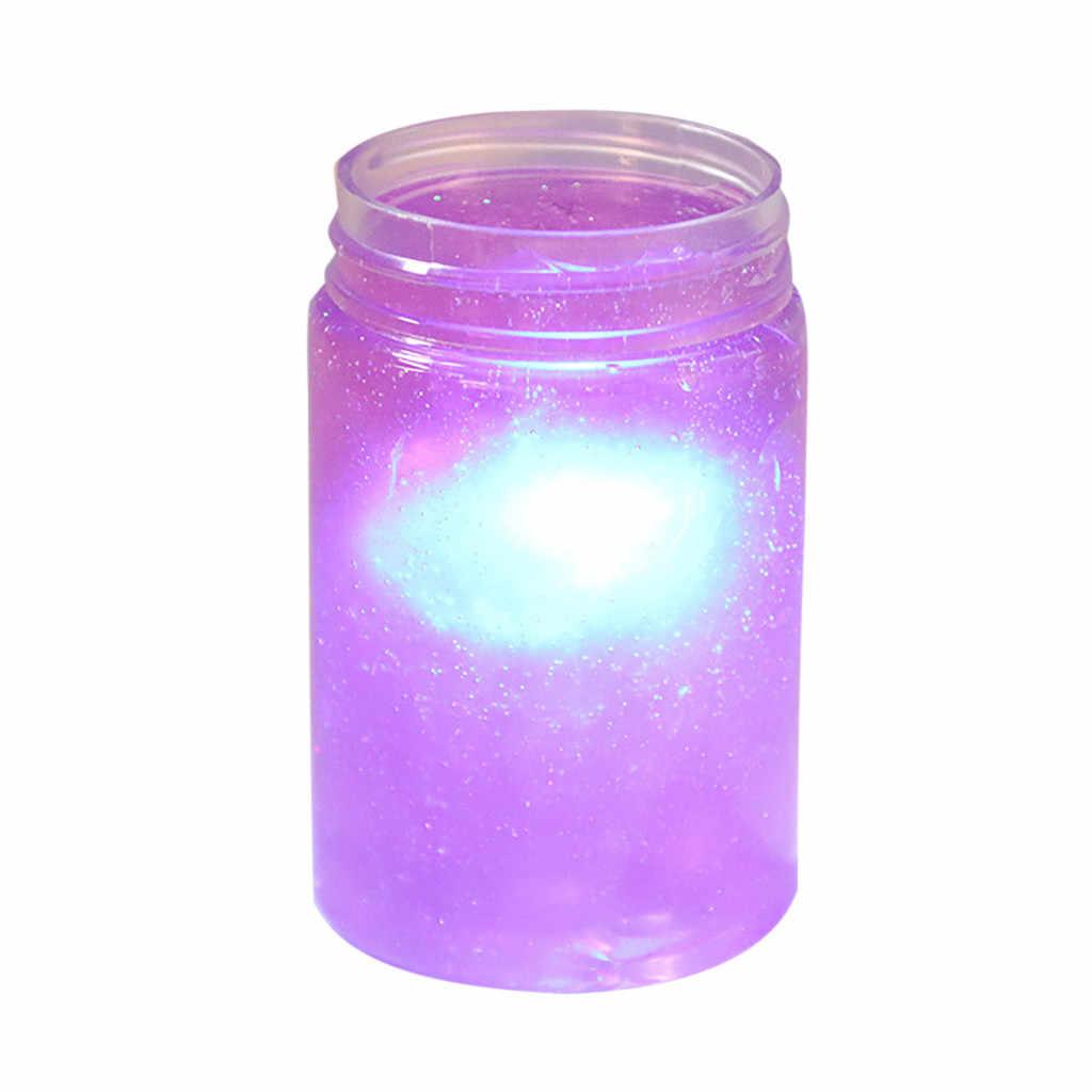 120 ml céu estrelado lama lama lama e CONDUZIU a lâmpada perfume descompressão brinquedo DIY crianças brinquedo colorido luminoso diy magia cor estrela brinquedo