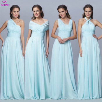 CX SHINE Custom Color Size Chiffon long Convertible bridesmaid dresses Blue pink ribbon wedding Prom party dress Plus Vestidos gown