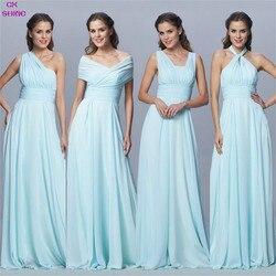 Brillo CX personalizado, tamaño, color Chiffon largo Convertible dama de honor Vestidos azul cinta Rosa boda Prom vestido de fiesta más Vestidos