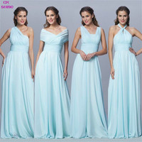 CX 샤인 사용자 정의 색상 크기 쉬폰 긴 컨버터블 들러리 드레스 블루 핑크 리본 웨딩 댄스 파티 드레스 플러스 Vestidos
