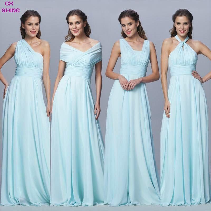 CX SHINE Користувальницький розмір кольору Шифон довгий Конвертовані сукні нареченої Синя рожева стрічка весілля Пром вечірня сукня Плюс Vestidos