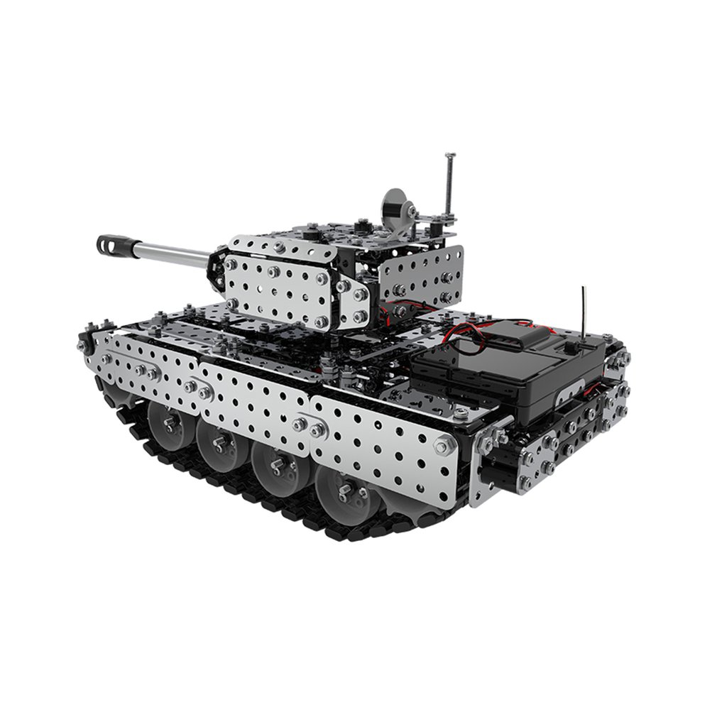 952PCS 2.4G RC Military Tank DIY Assembly set Stainless Steel Remote Control Model Toy Built-in 3.7V 300MAh lithium battery