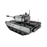 952PCS 2.4G RC Military Tank DIY Assembly set Stainless Steel Remote Control Model Toy Built in 3.7V 300MAh lithium battery