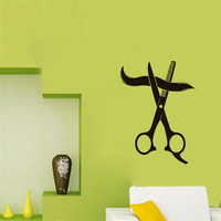 DCTOP Hairstyle Shop Wall Sticker Scissors Cutting Hair Art Decals Waterproof Adhesive Wall Paper