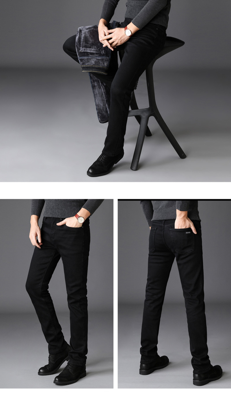 2020 New Trousers Grey Fleece Men Clothes  Black Elasticity Warm Thinker Winter Jeans Busines With Or No Velvet 2 Model Jeans 24