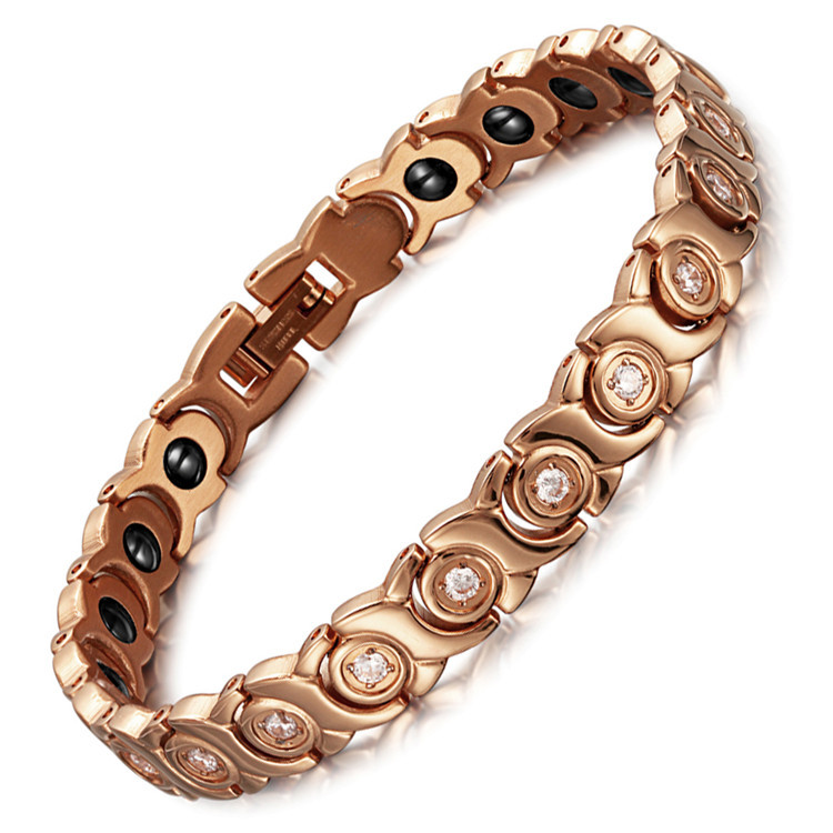 Stainless Steel Zircon Magnet Bracelet Female Rose-gold Zircon Magnet BraceletStainless Steel Zircon Magnet Bracelet Female Rose-gold Zircon Magnet Bracelet