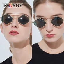 FZKYNY Fashion Personality Rhombic Sunglasses Women Luxury Brand Design Small Stainless Steel Frame Glasses Anti-UV Lens Eyewear anti uv metal frame crossbar flat lens sunglasses