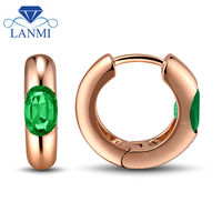 Fascinating Fine Jewelry Emerald Earring 4x6mm Oval Cut 18Kt Rose Gold WU236