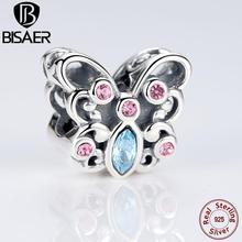 Real de Plata de ley 925 Mariposa de Color Rosa Animales Granos Del Encanto Fit Pandora Original Pulsera Brazalete de Compromiso de Boda Regalo Del Cabrito