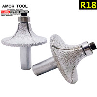 2 pcs R18 diamond profile wheel grinding wheel 12.7mm shank vacuum brazed diamond cutting sharpening wheel rotary abrasive tool