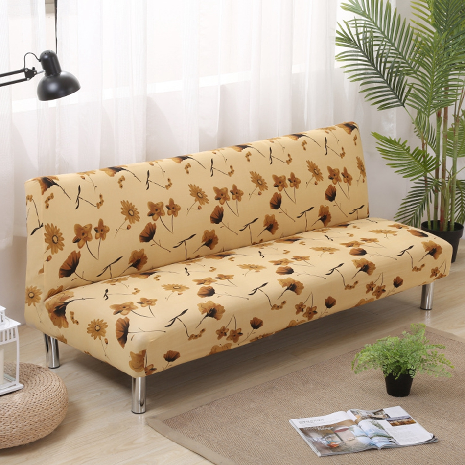 Yellow Leaves Sofa Bed Covers For Living Room Universal Armless Couch Elastic Furniture Slipcovers