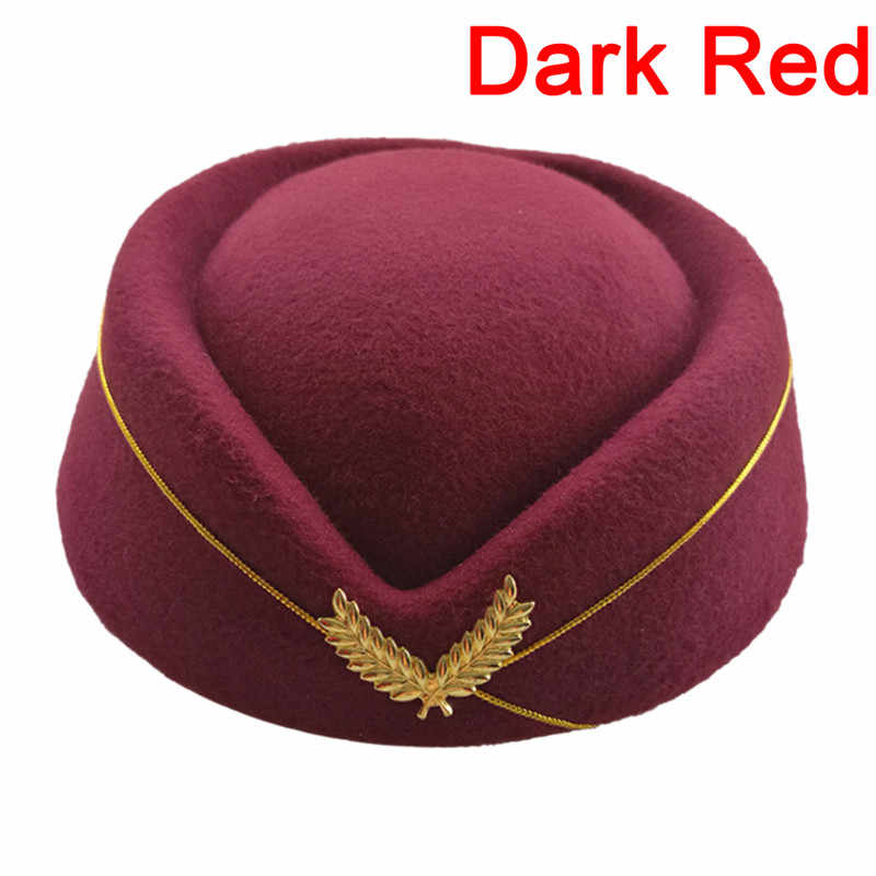 bfa851b7666 2018 Hot Sale Stewardess Hat Formal Uniform Base Cap Wool Felt Air  Hostesses Beret Hat Accessory