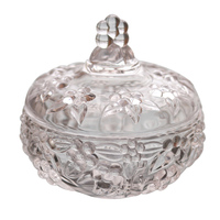 European Retro Three Dimensional Relief With Cover Glass Bottle Sugar Cylinder Spice Jar New Year Decoration Kitchen Storage Jar