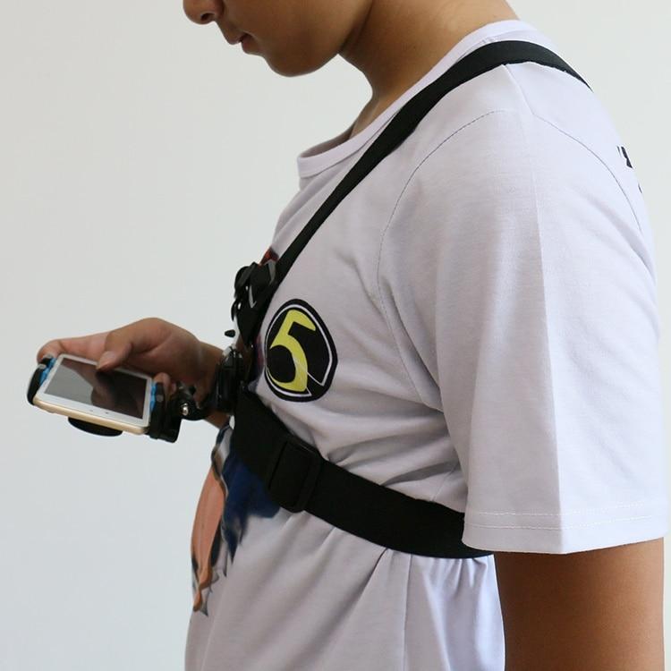imágenes para OBSHI acción cámara Arnés de Pecho Cinturón Mount w/Trípode Clip Holder para Smartphone, Gopro Héroe, para la Cámara de Sony, yi Xiao millas
