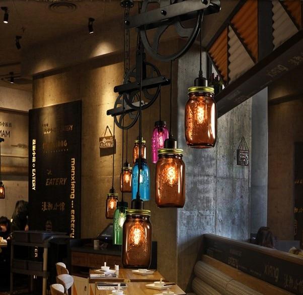 Edison Loft Style Colored Glass Droplight Industrial Vintage Pendant Light Fixtures For Dining Room Hanging Lamp Home Lighting loft vintage edison glass light ceiling lamp cafe dining bar club aisle t300