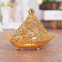 1Piece Metal Fruit Serving Tray Golden Flower Candy Plate Decorative For Wedding Party Supplies And Home