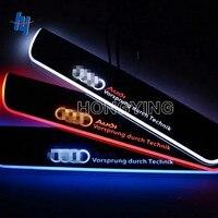 4 UNIDS 12 V LED Moving Front & Rear Door Sill Guards Acero Inoxidable Placa del desgaste del Pedal de Bienvenida Para Audi A6 C7 2013 2014 2015