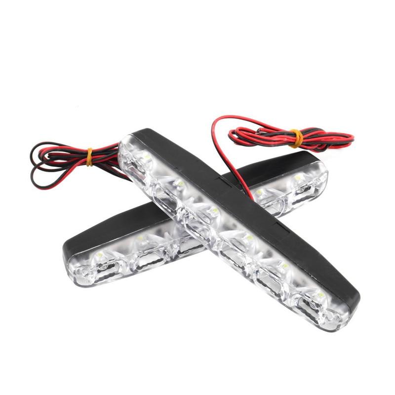 2PCS 8W 12V 6LED Car Daytime Running Lights DRL Waterproof Car Front Fog Lights Lamps White Light Work Floodlight