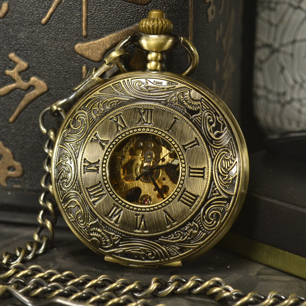 TIEDAN Bronze Steampunk Skeleton Mechanical Pocket Watch Men Antique Luxury Brand Necklace Pocket & Fob Watches Chain Male Clock dad pocket fob watches chain luxury black