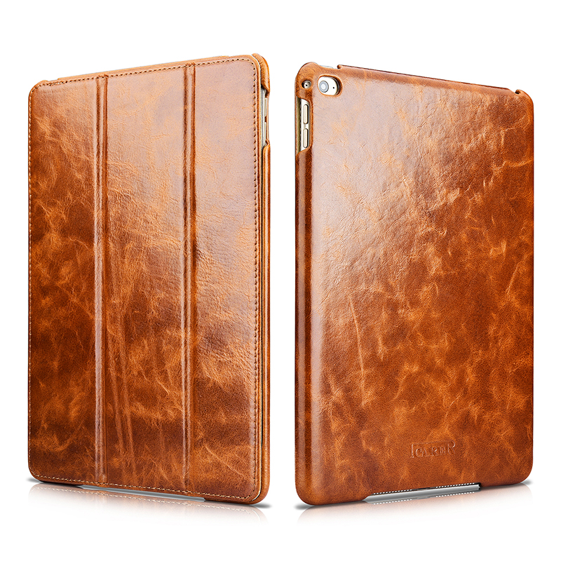 Luxury Waxy Genuine Leather Smart Case For iPad Air 2 Cover Auto Wake/ Sleep Flip Stand Case For Apple iPad Air 2 Protection Bag luxury smart case for apple new ipad 9 7 2017 tablet deer pattern slim flip stand auto wake sleep cover for air 1 2