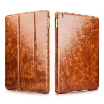Luxury Waxy Genuine Leather Smart Case For iPad Air 2 Cover Auto Wake/ Sleep Flip Stand Case For Apple iPad Air 2 Protection Bag
